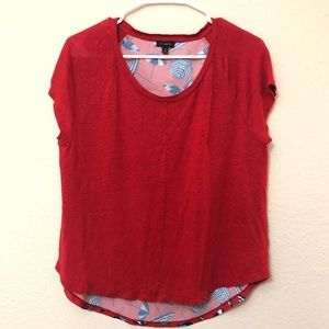 Talbots Red/Blue umbrella linen shirt size medium